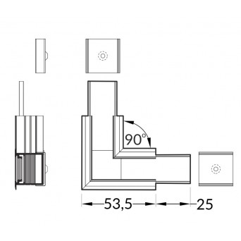 Kit connettore angolare 90° LINEA-IN20 anodizzato